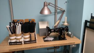 A vintage Pfaff sewing machine still does service in stitching polyester sleeves for outsized documents and panoramic photographs. The Pfaff model 130 was introduced in 1932 and was manufactured into the 1950s.