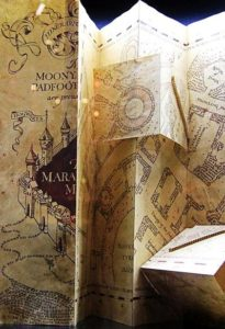 The Marauder's Map, a prop from the Harry Potter films. Posted to Flickr by Karen Roe.