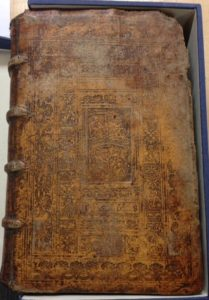 Front cover of the Spangenberg volume at the Bookbinders Museum.